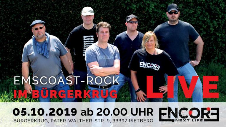 ENCORE NEXT LIFE treten am Samstag, den 05. Oktober im Bürgerkrug Rietberg in der Pater-Walter-Straße 9 auf.